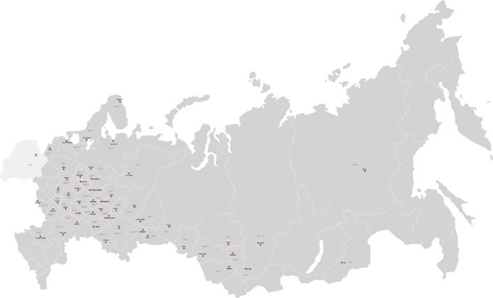 Компания «К-ФЛЕКС» имеет разветвленную сеть дистрибьюции в России